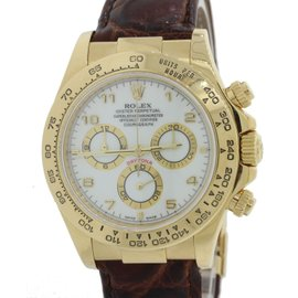 Rolex Daytona Cosmograph 116518 18K Yellow Gold White Arabic 40mm Unisex Watch
