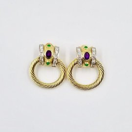 David Yurman 18K Yellow Gold with 5.00ct of Amethyst, Emerald & Diamond Cable Door Knocker Earrings