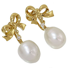 Mikimoto 18K Yellow Gold with Pearl and 0.06ct Diamond Ribbon Design Earrings