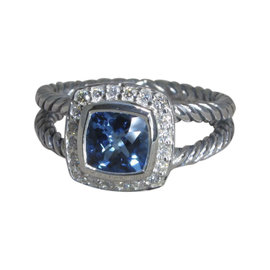David Yurman Petite Albion Sterling Silver with Blue Topaz and Diamond Ring Size 7