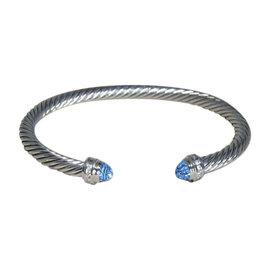 David Yurman Sterling Silver with Blue Topaz and Diamond Cuff Bracelet