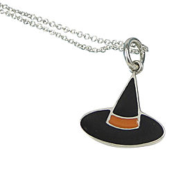 Tiffany & Co. 925 Sterling Silver with Orange & Black Enamel Witch Hat Charm Pendant Necklace