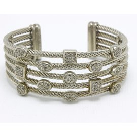 David Yurman 925 Sterling Silver with 0.62ct Diamond Confetti 5 Row Cuff Bracelet