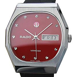 Rado Voyager Stainless Steel & Leather Automatic Vintage 34.5mm Mens Watch 1970s
