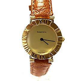 Tiffany & Co. Atlas TC1504M 18K Yellow Gold & Leather With Diamond Quartz 24mm Womens Watch