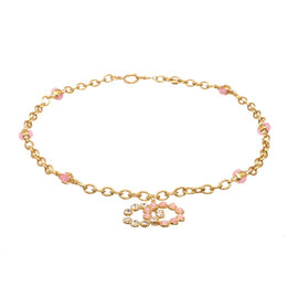 Chanel Gold Tone Hardware and Pink Glass Stones CC Gripoix Necklace