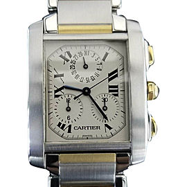 Cartier Tank Francaise 2303 18K Yellow Gold & Stainless Steel Quartz 29mm Mens Watch