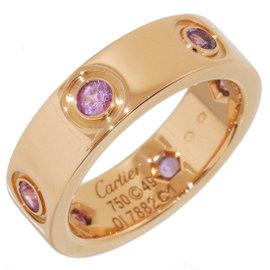 Cartier 18K Rose Gold & Pink Sapphire Love Ring Size 5