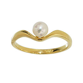 Mikimoto 18K Yellow Gold & Pearl Band Ring Size 5.75