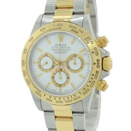 Rolex Cosmograph Daytona 16523 Stainless Steel & 18K Yellow Gold White Dial 40mm Mens Watch