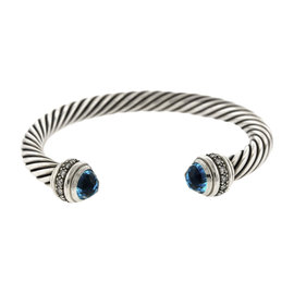 David Yurman 925 Sterling Silver Diamond and Blue Topaz Cable Cuff Bracelet