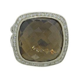 David Yurman Albion 925 Sterling Silver with Smoky Quartz & 0.42ct Diamond Cocktail Ring Size 5.5