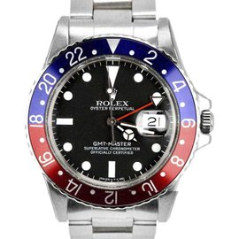 Rolex GMT-Master 16750 Pepsi Blue Red Stainless Steel Matte 40mm Mens Watch 1981