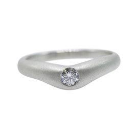 Tiffany & Co. Elsa Peretti Platinum with 0.18ct Diamond Curve Band Ring Size 8
