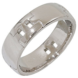 Hermes H Logo Hercules 18K White Gold Band Ring Size 5.5