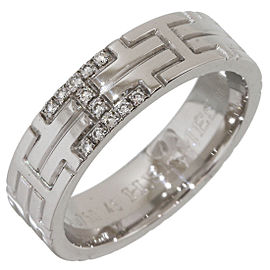 Hermes 18K White Gold and Diamond Band Ring Size 4.75