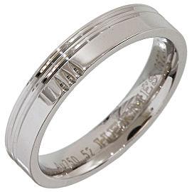 Hermes H Logo 18K White Gold Band Ring Size 6.25