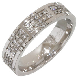 Hermes 18K White Gold and Diamond Band Ring Size 6