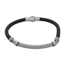 David Yurman 925 Sterling Silver & Leather Cable Metro Vintage Bracelet