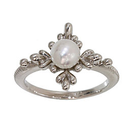 Mikimoto 18K White Gold and Pearl Band Ring Size 5