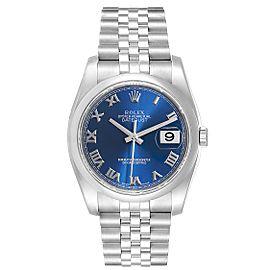 Rolex Datejust Blue Roman Dial Domed Bezel Steel Mens Watch 116200