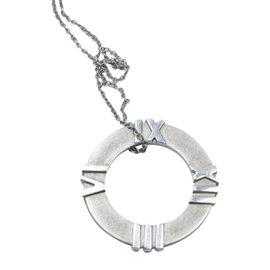 Tiffany & Co. Atlas Sterling Silver Circle Roman Numeral Pendant Necklace