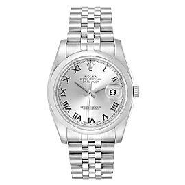 Rolex Datejust 36 Silver Roman Dial Steel Mens Watch 116200