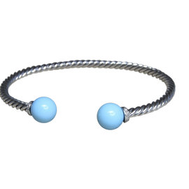 David Yurman 925 Sterling Silver with Turquoise and 0.03ct Diamond Bracelet