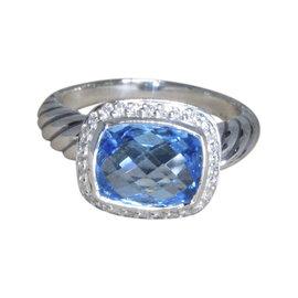David Yurman Noblesse 925 Sterling Silver with Blue Topaz and Diamond Ring Size 7