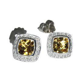 David Yurman Petite Albion 925 Sterling Silver with Citrine and 0.39ct Diamond Earrings