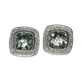 David Yurman Petite Albion 925 Sterling Silver with Prasiolite and 0.39ct Diamond Earrings