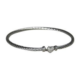 David Yurman 925 Sterling Silver with Diamond Heart Bangle Bracelet