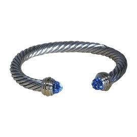 David Yurman 14K Yellow Gold & 925 Sterling Silver with Blue Topaz Cuff Bracelet