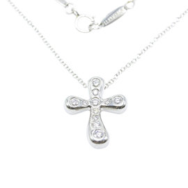 Tiffany & Co. Elsa Peretti Platinum with 0.20ctw. Diamond Cross Pendant Necklace