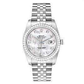 Rolex Datejust MOPDiamond Dial Bezel Mens Watch 116244 Box Card