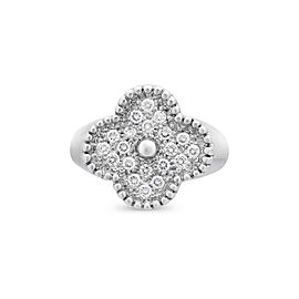 Van Cleef & Arpels 18K White Gold Diamond Alhambra Ring Size 5.25