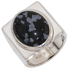 Louis Vuitton Sterling Silver Snowflake Obsidian, Obsidian Ring Size 9
