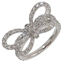 Vecchio 18K White Gold Diamond Ring Size 1.75