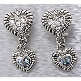 Judith Ripka 925 Sterling Silver Double Heart Cz & Blue Topaz Earrings