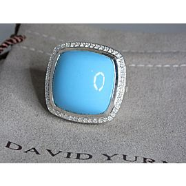 David Yurman Albion Sterling Silver Turquoise and Diamond Ring Size 8