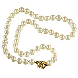 Tiffany & Co. Akoya 18K Yellow Gold Cultured Pearl Necklace