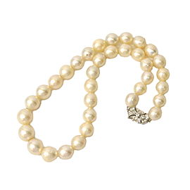 Tasaki 900 Platinum with South Cultured Sea Pearl & Diamond Necklace