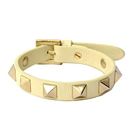 Valentino Garavani Leather and Gold Tone Hardware Studs Bangle Bracelet