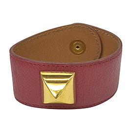 Hermes Gold Tone Hardware & Couchevel Leather Medor Bangle Bracelet