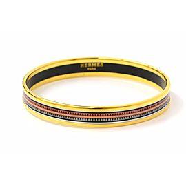 Hermes Email Gold Tone Hardware with Cloisonne Bangle Bracelet