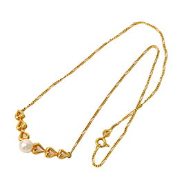 Mikimoto 750 Yellow Gold with Akoya Cultured Pearl Pendant Necklace
