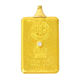 Corum 24K & 18K Yellow Gold with 0.05ct Diamond Ingot Pendant