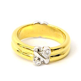 Tiffany & Co. 750 Yellow and White Gold with Diamond Band Ring Size 4