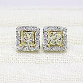Light Yellow Princess Halo Diamond Earrings 3.96tcw 18k White & Yellow Gold