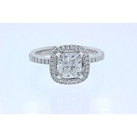 Simon G Halo Diamond Engagement Ring Pave Band Cushion 1.31 tcw F VVS1 Platinum
